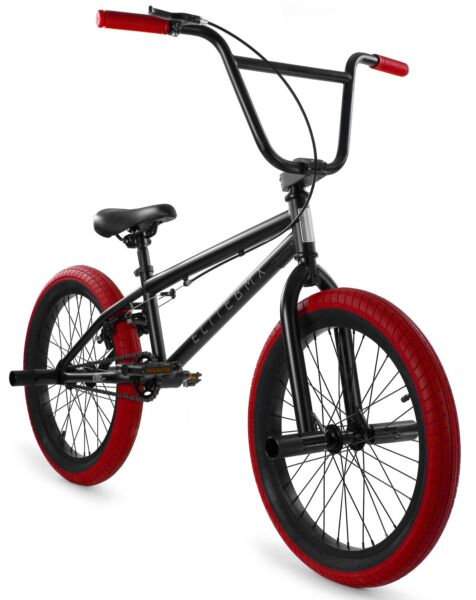 Elite 20quot; BMX Stealth Bicycle Freestyle Bike 1 Piece Crank Black Red NEW $269.00