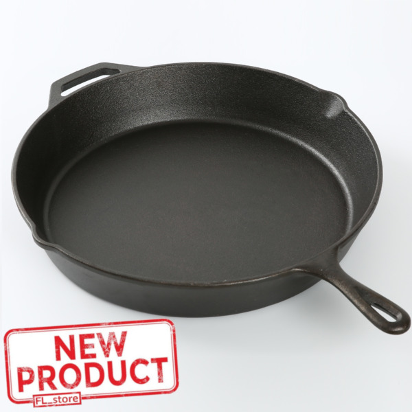15quot; Cast Iron Skillet Frying Pan Pre Seasoned Cooking Oven Kitchen Cookware Camp