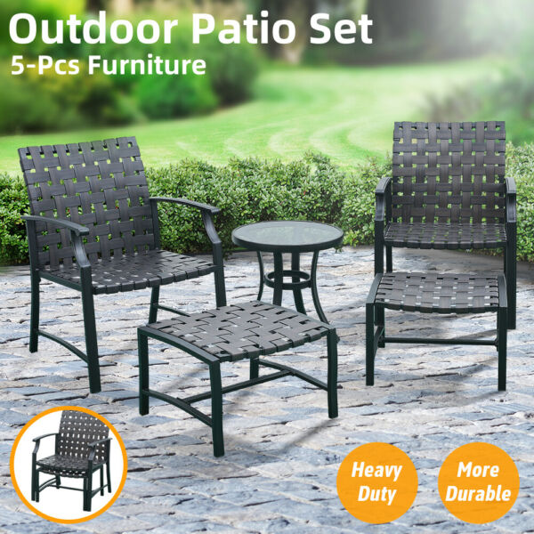 5 PCS Outdoor Patio Furniture Dining Chairs Set Side Table Sofa Fast Shipping US $178.99