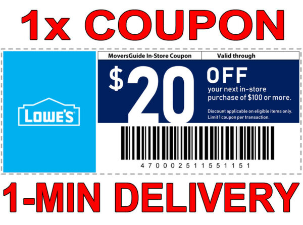 1× Lowes $20 OFF $100 FAST DELIVERY DISCOUNT-1COUPON INSTORE ONLY 𝐄𝐗𝐏 𝟖/𝟕