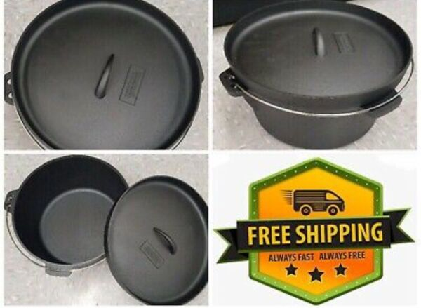 "12"" Gourmet Cast Iron Dutch Oven Camping Outdoor Cooking"