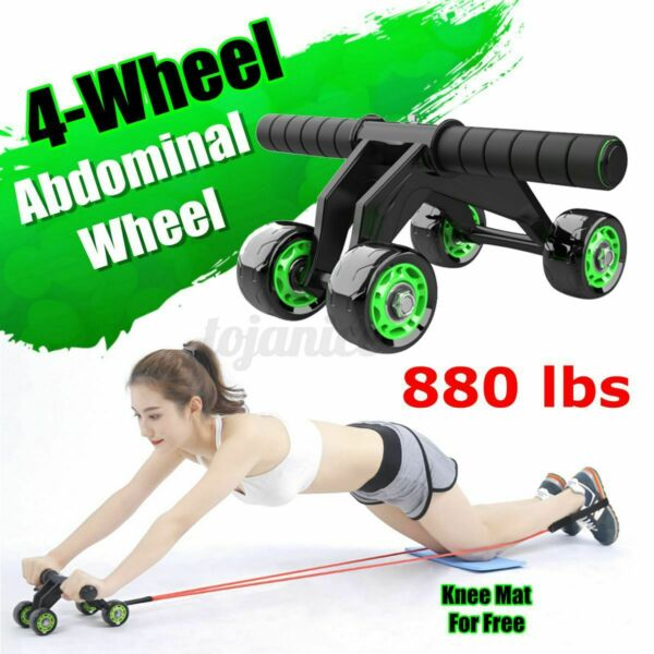 4 Wheel AB Abdominal Roller Workout Exercise Fitness Equipment Machine Free Mat