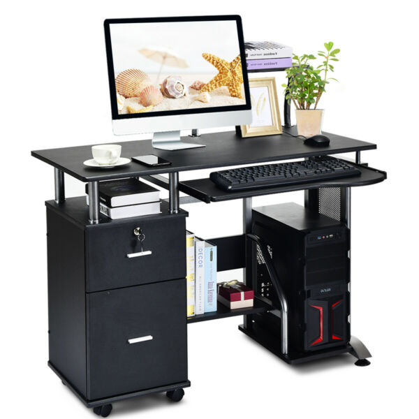 Desk PC Laptop Table WorkStation Home Office Furniture w/ Printer Shelf