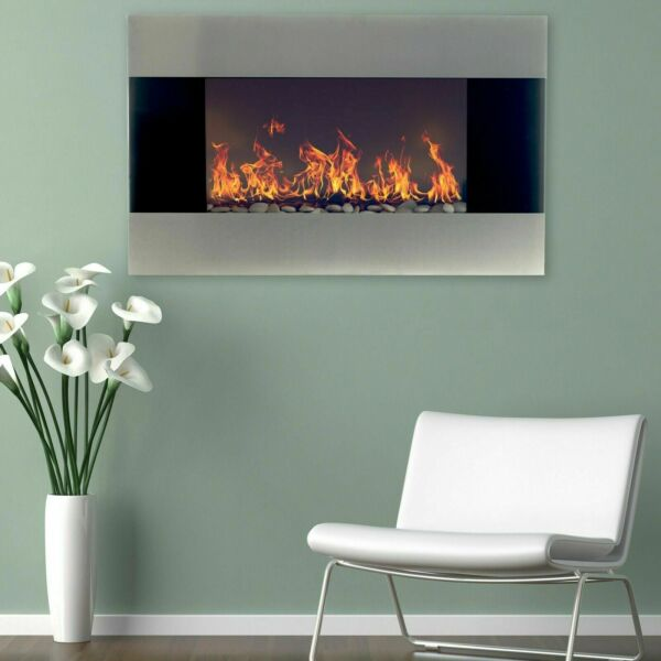 Stainless Steel Electric Fireplace with Wall Mount amp; Remote 35 x 22 1500W