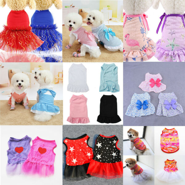 Puppy Pet Dog Clothes for Small Girl Dog Sweety Cotton Princess Dress Apparel $4.47