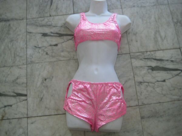New SILVER  PINK 2pc set w peep holes size S sexy FREE S&H