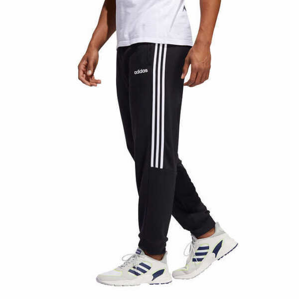 NEW MEN'S  ADIDAS FRENCH TERRY 3 STRIPE JOGGER LOUNGE PANTS LEG INKWHITE