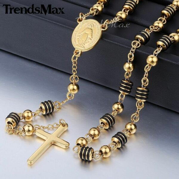 Men Stainless Steel Jesus Christ Cross Pendant Necklace Rosary Gold Plated Chain $12.99