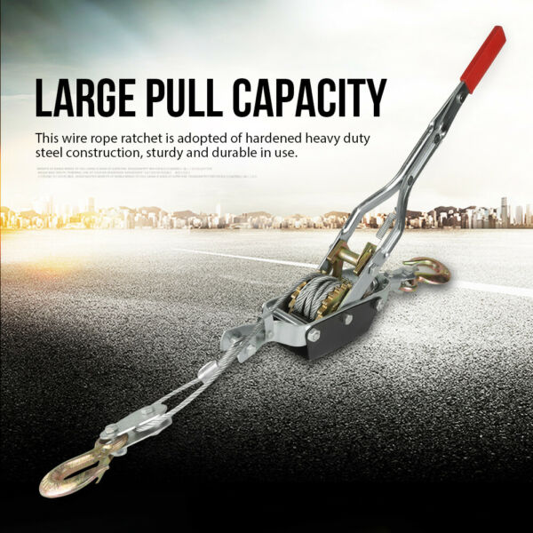 4 Ton 2 Hook Come A Long Winch Hoist Ratcheting Hand Cable Puller Crane Pulling $29.17