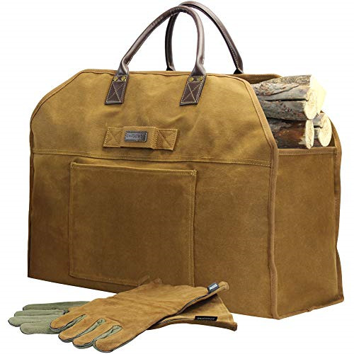 Firewood Log Carrier Bag Waxed Canvas Tote Holder with Pure Leather Gloves