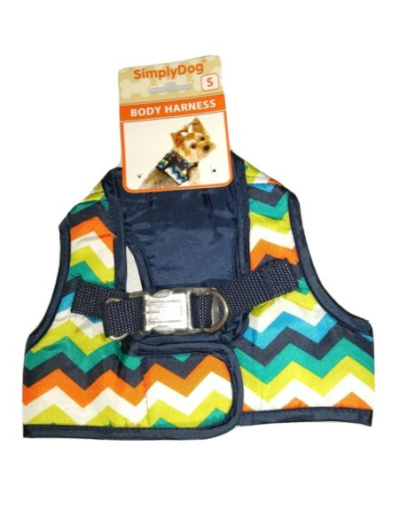 Simply Dog Dog Body Harness Small Blue Chevron with Multi Color Pattern $12.99