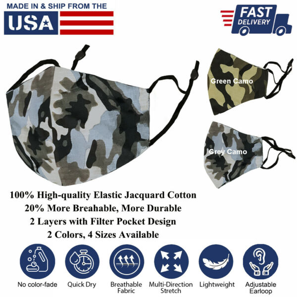 3D Pure Cotton Face Mask Washable Reusable Light Unisex Camo-color Made-in-USA