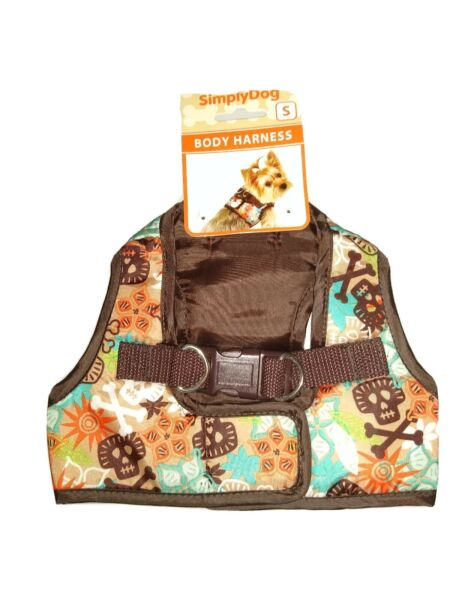 Simply Dog Dog Body Harness Small Brown with Multi Colored Skull and X Bones $12.99