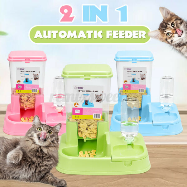 400ml Automatic Large Pet Dog Cat Puppy Food Water Dish Bowl Dispenser Feeder US $23.36