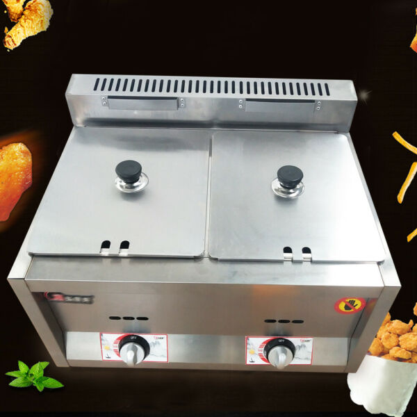 Commercial 2 Pan Gas Fryer Steam Food Warmer Steam Buffet Countertop Table 6L*2