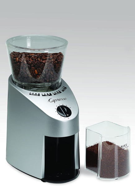 Coffee Grinder Conical Burr From Ultrafine To Coarse 8.8Oz 4Oz cont Brush Silver
