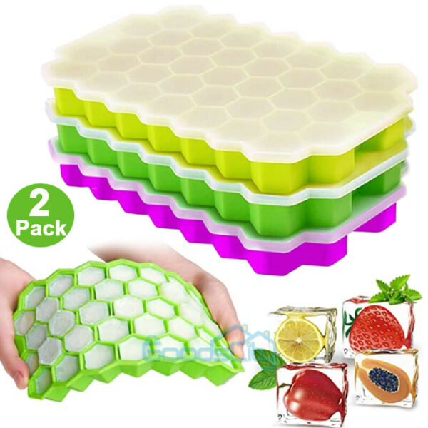 74 Case Silicone ICE Cube Tray Maker Mold Cocktails Whiskey 2 Pack $11.95