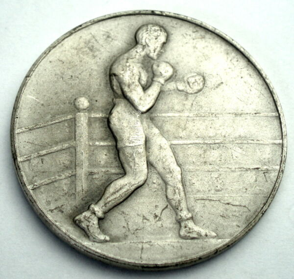 Antique Boxing Medal By Pinches London 33mm 14.5g Silver Plated Bronze. F4.4