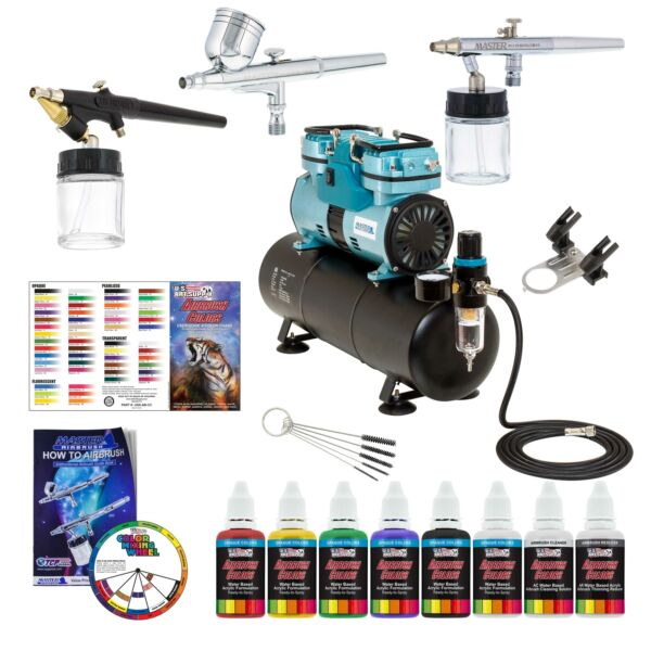 3 Master Airbrush 14hp Twin-Piston Compressor Kit 6 Color Acrylic Paint Set