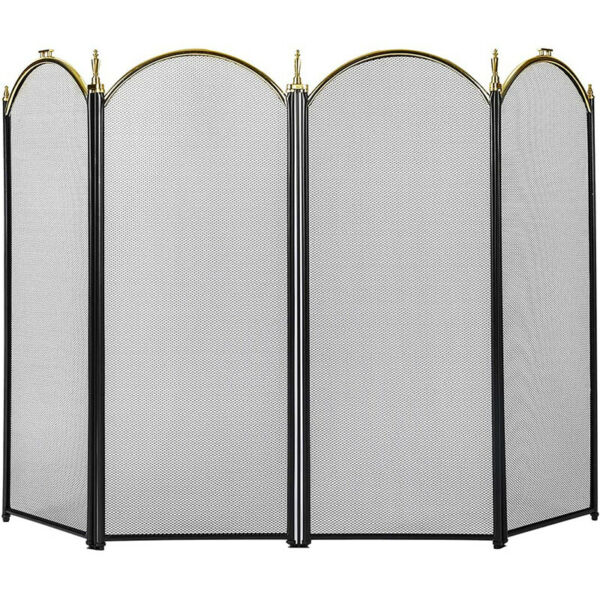 VIVOHOME Folding Fireplace Screen 4 Panel Guard Fireplace Iron Fence Shield Door