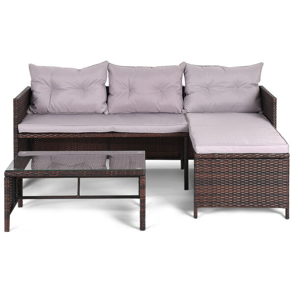 Topbuy 3PC Outdoor Furniture Set Rattan Wicker Sofa Table Deck Garden Patio $239.95