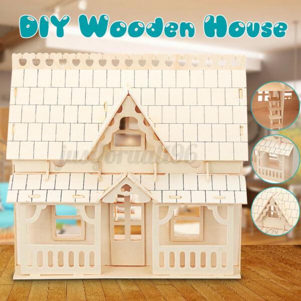 DIY Wooden Kids Dolls House Room Miniature Kit Play Toy Christmas Home Gifts US