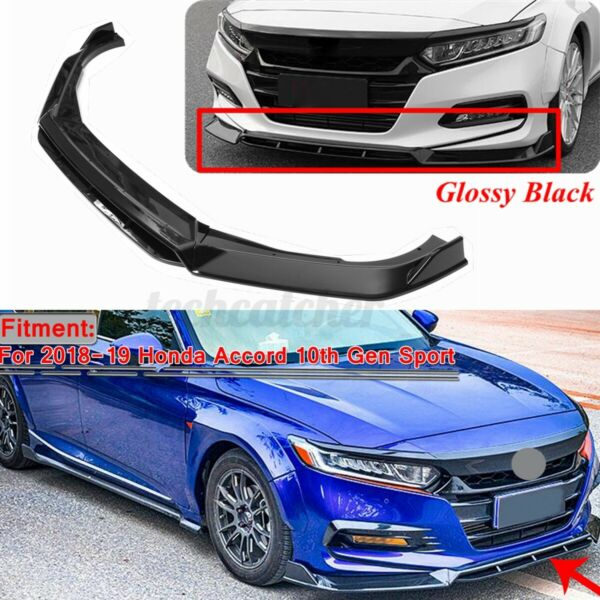 Glossy Black Front Bumper Lip Spoiler For Honda Accord 10th Gen Sport 2018 2019