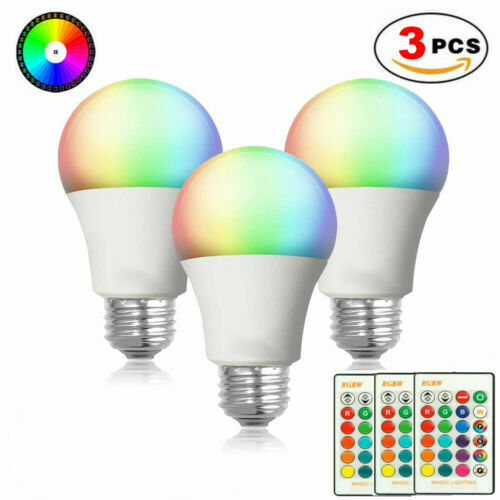 3pcs E26 RGB RGBW LED Light Bulb Multi Color Changing Magic Lamp Remote Control