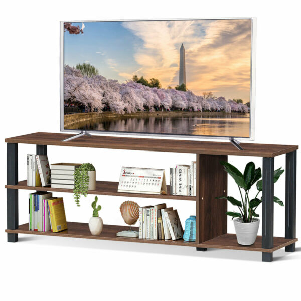 Wood TV Stand Media Game Console Storage Cabinet Entertainment Center for TV 50