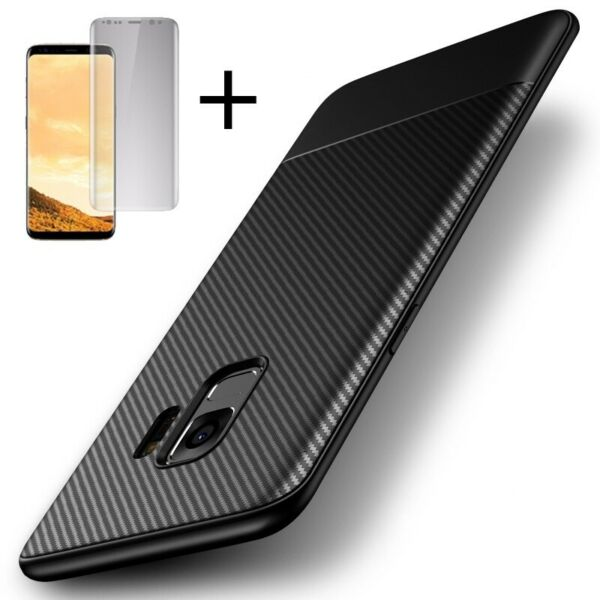 For Samsung Galaxy S8 S9 Plus Note 9 Case Shockproof Carbon Fiber Texture Cover $7.96