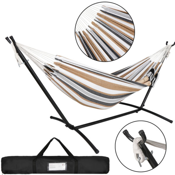 Double Hammock W Portable Carrying Bag Swing Includes Space Saving Steel Stand $52.99