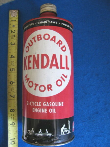 Vintage KENDALL OUTBOARD MOTOR empty quart CAN rare CONE TOP