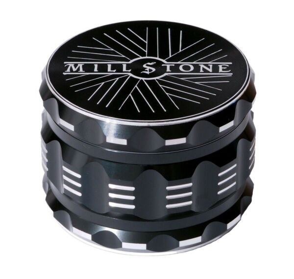 Millstone Tobacco Herb Grinder 4 Piece Metal Large 2.5 inch Crusher Black $14.99