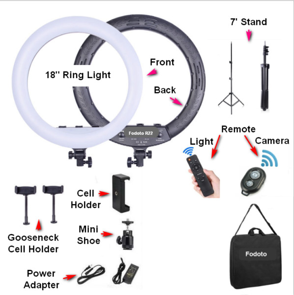 Fodoto 18quot; LED BiColor Dimmable Ring Light with 7#x27; Stand for Photo Video Makeup