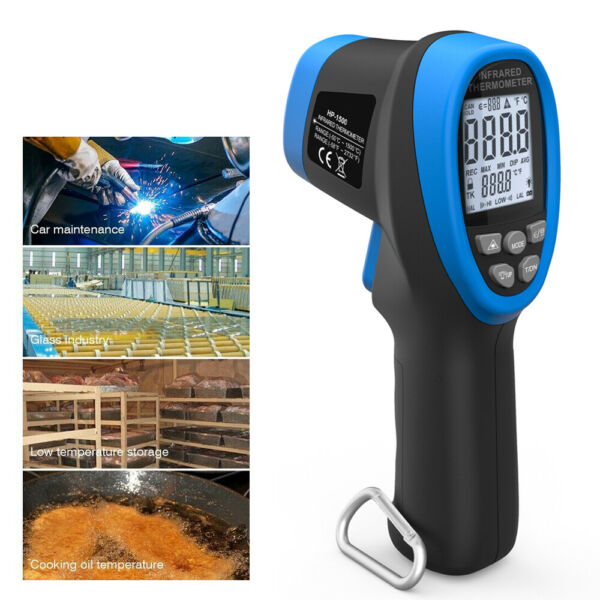 BTMETER Digital IR Infrared Thermometer Pyrometer Test High Temperature 1500°C