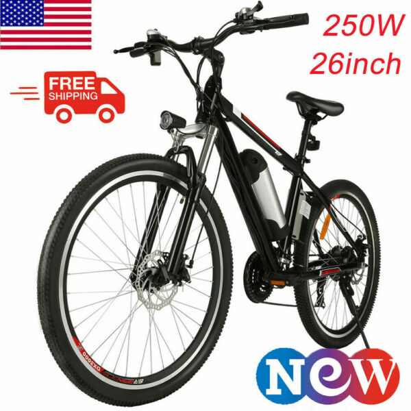 26'' Electric Bike Mountain Bicycle Adult Ebike 21Speed 36V Lithium Battery US