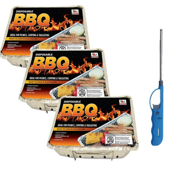 Disposable Bbq Grill Set: 3 Pk Aluminum and 1 Refillable Lighter