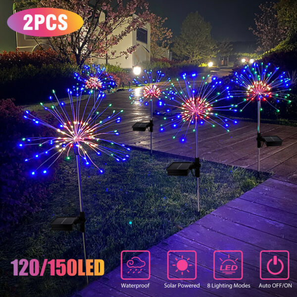 1 2pcs Solar Firework Starburst Fairy Lights Stake Outdoor Garden Path Lawn Lamp