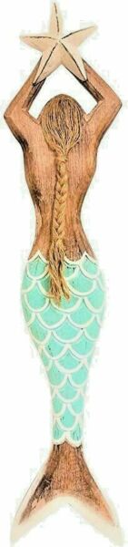 HANDCARVED Wood Coastal Nautical Style Mermaid Holding a Star Wall Decor! $27.49