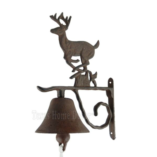 Large Deer Dinner Bell Cast Iron Wall Mounted Rustic Antique Style Cabin Lodge $29.95