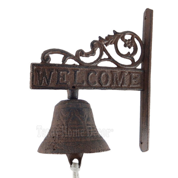Vines quot;Welcomequot; Dinner Bell Cast Iron Wall Mounted Rustic Brown Antique Style $17.95