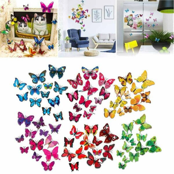 72pcs 3D Butterfly Wall Stickers Removable Mural Decals DIY Art Home Decoration $7.99