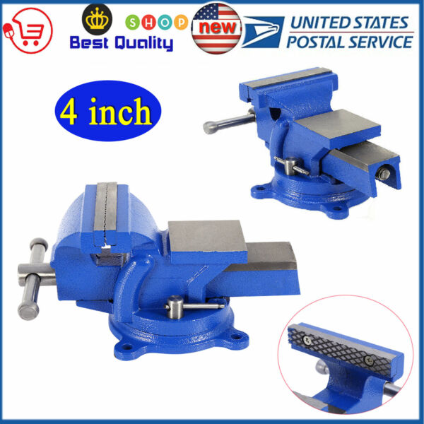 4quot; Bench Vice Vise Heavy Duty Workshop Clamp Engineer Jaw Swivel Locking Base
