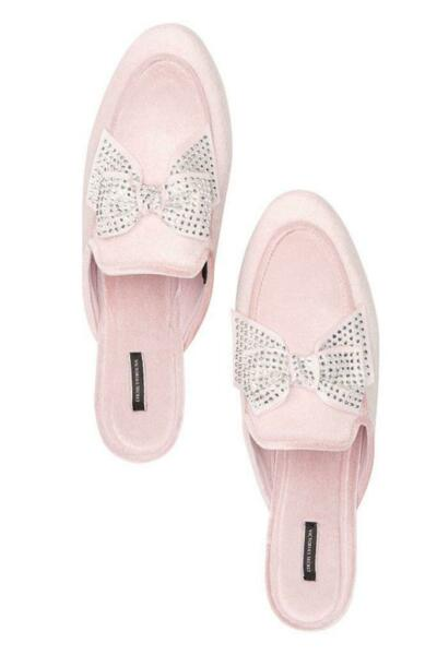 VICTORIA#x27;S SECRET RHINESTONE BOW SLIDE MULES HARD SOLE MEDIUM NWT pink $20.99