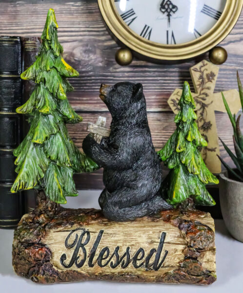 Blessed Rustic Western Black Bear Kneeling On Log by Pine Trees Praying Statue