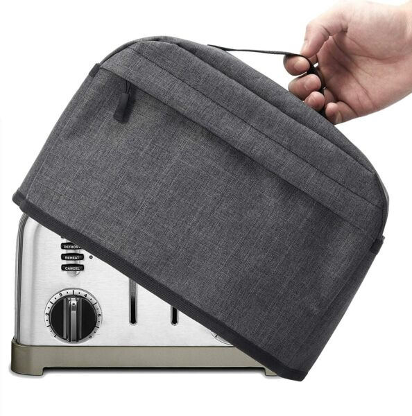 2 4 Slice Toaster Cover with Zipper Open Pockets Kitchen Cover with Handle