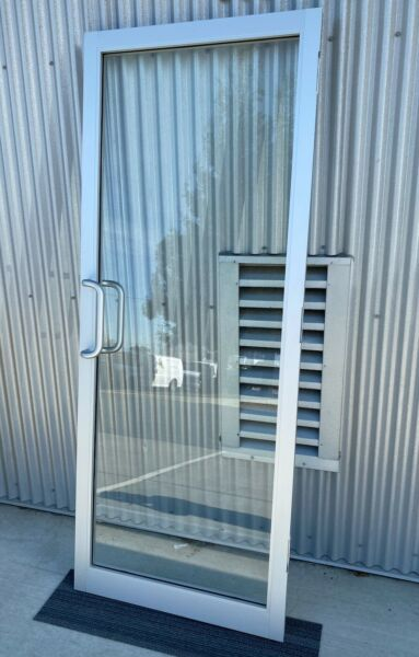 Atlas Aluminum door: 2 inch designer style single glazed tempered glass