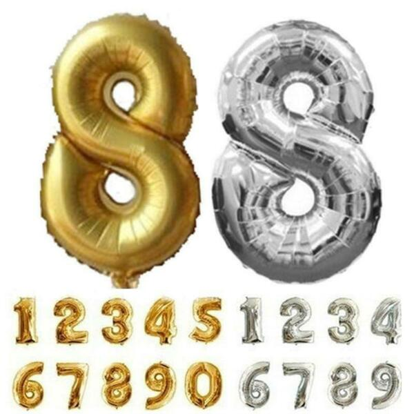 32inch Number Foil Balloons Digit Crown Air Ballon Birthday Party Decorations