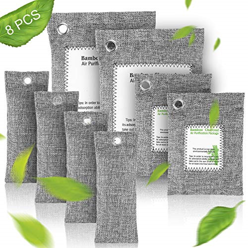 ?2020 Upgraded? Bamboo Charcoal Air Purifying Bags 8 Pack 2 x 200g 2 x 100g 4 x