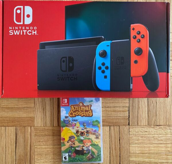 Nintendo Switch Neon Red and Blue Joy Con Console + Animal Crossing Bundle (New)